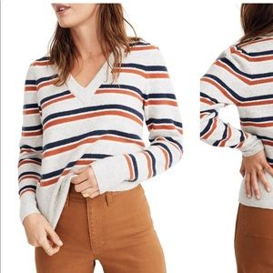Madewell Striped Westgate V-Neck Sweater